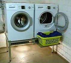 Premium Waschmaschinen Untergestell Mara 2 Premium mit 2 einzelnen Teleskop-Auszügen für Wäschekörbe / Verstärkte Aluminium - Ausführung / Teleskop-Auszüge rappelfrei / / rostfrei / Unterbau für 2 Maschinen Trockner und Waschmaschine /: Amazon.de: Elektro-Großgeräte