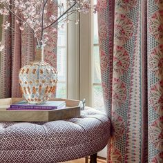 Cairo Fabric in Pink and Coral from the Savoy Collection by Anna French has fanning florals with geometric borders in pink, red, yellow and blue. Anna French, French Bed, French Interior, Interior Design, French Curtains, French Collection, Curtain Designs, Fine Furniture, Cairo