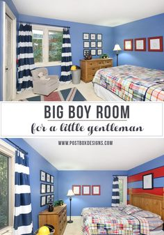 Boy bedroom room design. Union jack rug, striped curtains, striped walls, #Potterybarn madras plaid, framed bowties. Design by www.postboxdesigns.com