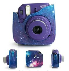 [Fujifilm Instax Mini 8 Case]—Woodmin Exclusive Starry Sky Galaxy PU Leather Protective Fuji Camera Case with Shoulder Strap for Instax Mini 8 Camera (Blue Polaroid Instax Mini, Fujifilm Instax Mini 8, Polaroid Camera Case, Camara Fujifilm, Cute Camera, Accessoires Iphone, Cool Things To Buy, Pu Leather, Leather Case