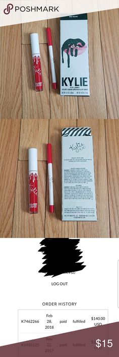 New, never used, Kylie Jenner lip kit Red Velvet New, never used, opened only for the picture. Kylie Jenner velvet lip kit, holiday 2017 collection.  I purchased the full collection but don't use lipstick. Also selling the makeup mag separate in my closet. Kylie Cosmetics Makeup Lipstick