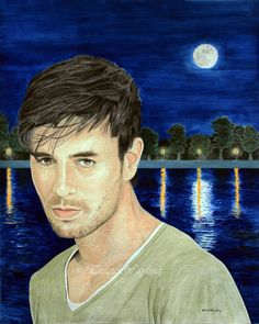 "'Silver Moon' (Enrique Iglesias) portrait example, 16"" x 20"" watercolour/gouache painting.  #Art #Artwork #Artist #LondonArtist #watercolour #gouache #portrait #fullmoon #silvermoon #lake #reflections #lights #Madrid #Enrique #Iglesias #traciewayling"