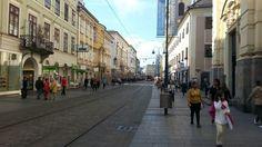 Mozartkreuzung along Landstraße Street View, Linz, City
