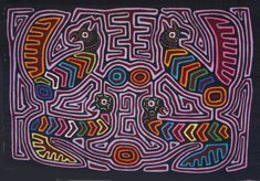 Textile MOLA KUNA South American Reverse Applique ART Panama via Etsy.