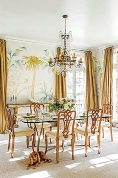 Classically Elegant New Orleans Home: New Orleans Dining Room with Palm Tree Mural