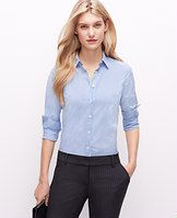 Stripe Perfect Shirt - Fine lines: we love the classic appeal of a striped button-down, with a touch of modern stretch. Pair with slim pants and a sleek clutch for an instantly pulled-together look. Point collar. Long sleeves with button closure. Button front. Forward shoulder seams. Back yoke. Shirttail hem.
