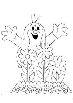 Kleurplaat: mol met bloemen