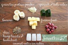 Smoothie recipe. Love the idea of frozen veggie cubes.