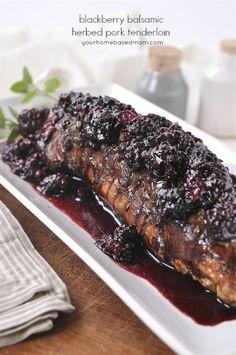 Blackberry Balsamic Herbed Pork Tenderloin - made with frozen Oregon berries! Pork Tenderloin Recipes, Pork Recipes, Cooking Recipes, Pork Chops, Grilling Recipes, Herbs For Pork, Balsamic Pork Tenderloins, Blackberry Recipes, Berry Sauce