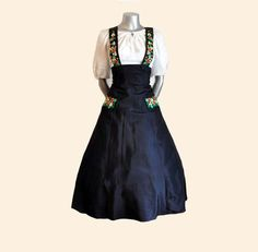 I have yearned for a vintage high-waisted, suspender/wide strapped skirt (or dress, as you please) like this for ages, but alas this one isn't the right size...or price ;) #vintage #1940s #1950s #skirt #dress #fashion #clothing