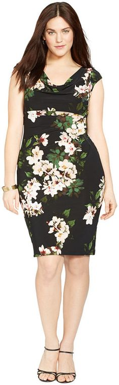 Plus Size Floral Cowl Neck Dress