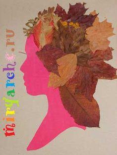 поделки из природного материала своими руками из листьев Портрет Осени