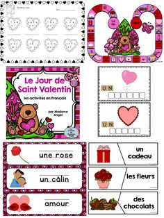 Jour de Saint Valentin: Valentine's Day Literacy activities, word wall and games in French! $