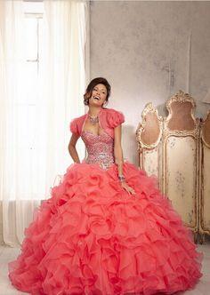 2015 Quinceanera Dresses Beaded Bodice Organza Ruffled Ball Gowns Coral Quinceanera Dresses with Jacket vestidos de 15 anos