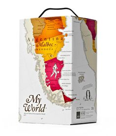 "My World Wine Designed by DesignersJourney | Country: Norway ""We created a series of hand drawn maps colored by aquarelle embracing each box, accompanied by a series of illustrations highlighting what is unique about each country."""