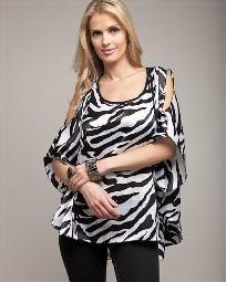1X new zebra plus size ladies womens top / blouse black and white