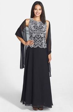 Free shipping and returns on J Kara Embellished Bodice Chiffon Gown & Shawl (Regular & Petite) at Nordstrom.com. Pearly beads and metallic embroidery chart intricate floral designs over the sleeveless bodice of this flowy chiffon gown designed to create a mock two-piece look. A coordinating scarf can be draped over the neck or shoulders for a perfectly polished ensemble.