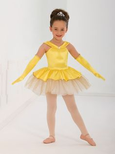 Ref: Yellow stretch satin leotard has nude adjustable straps and jewel detail at front. Attached skirt has layers of white metallic organdy and gold glitter tulle under a peplum of yellow stretch satin edged in gold spot sequins. Dance Recital Costumes, Cute Dance Costumes, Ballet Costumes, Girl Costumes, Dance Outfits, Dance Dresses, Little Girl Dresses, Flower Girl Dresses, Costume Collection