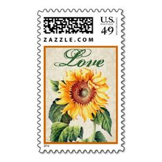 Yellow and Green Vintage Sunflower Love Postage Stamp #wedding #green #yellow #vintage #sunflower #postage #stamp