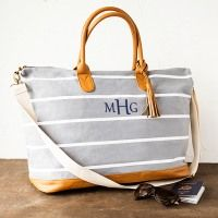 Personalized Striped Canvas Weekender