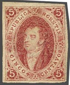 Argentina, Scott 8. 5 c. rose-red, imperforate, wmk. 'RA', clear impression from the first printing, a magnificent unused example with large margins all round, exceptionally so for an unused example of this rarity, of good rich colour, without gum. Cert. Sismondo (2005) Gi 13 = £ 1'100/Scott = $ 2'500.