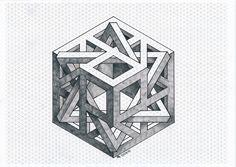 #impossible #isometric #penrose #triangle #mathart #regolo54 #handmade #hexagon #oscareutersvärd #opticalillusion #escher