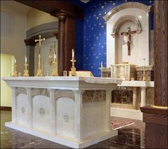 Italian Marble chancel furniture Holy Trinity Catholic Church Westminster, CO