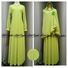 Gamis Oki warna lemon bikin tambah #fresh sista solihah  #hijab #gamisoki