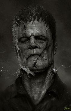 "Frankenstein by Adnan Ali > Horror - posted May 2014 Here is a portrait of ""Frankenstein"" in modern days. Dark Fantasy Art, Dark Art, Zbrush, Arte Horror, Horror Art, Art Frankenstein, Beautiful Creatures, Creepiest Horror Movies, Art Zombie"