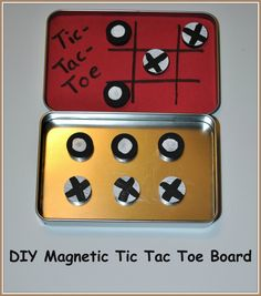 Make a travel-size Tic-Tac-Toe set with a metal case (Altoid or gift card case), foam, magnets and paint. The paint is used to creat the two sets of playing pieces, so the sky's the limit on decorating your pieces. Glitter glue? Duct tape?