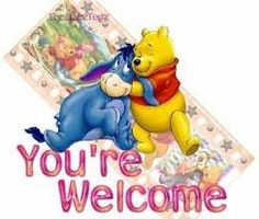 You're welcome Pooh hug Eeyore Welcome Quotes, You're Welcome, Welcome To The Group, Thank You Quotes, Welcome Spring, Welcome Pictures, Welcome Images, Birthday Greetings, Birthday Wishes