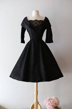 NEW LOOK 1950's Black Silk Cocktail Party Dress By Mari