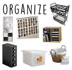 """Organize"" by vacatedpath7 on Polyvore featuring interior, interiors, interior design, home, home decor, interior decorating, Ameriwood, Safco, InterDesign and Crate and Barrel"