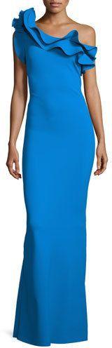 La Petite Robe di Chiara Boni Elise One-Shoulder Ruffle Stretch Jersey Gown, Blue