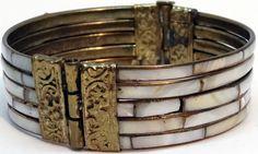 Bracelet - 5 Rangs - Laiton et Nacre - Années 60
