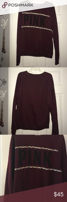 Maroon cheetah Varsity Crew ! in perfect condition! so comfortable no stains and looks so good on! it is a large if you are a medium you would deff be able to fit in it! i usually wear smalls in VS it's just the way it runs! and this fits me perfect ! PINK Victoria's Secret Tops