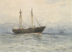 """""""The Hen and Chickens Lightship off Westport, Massachusetts,"""" Robert Swain Gifford, 1889, watercolor and white gouache over graphite on heavy cream wove paper, 13 1/16 x 17"""", Fogg Museum."""