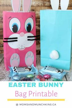 Easter Crafts For Kids, Kids Diy, Bunny Bags, Free Mom, Easter Treats, Treat Bags, Easter Baskets, Easter Bunny, Holiday Crafts