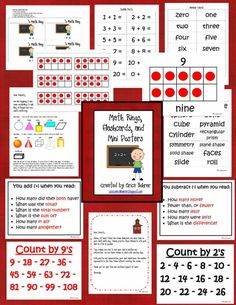 Free Math Worksheets: 65 Page Math Ring, Flashcards, and Mini Posters Packet #homeschool