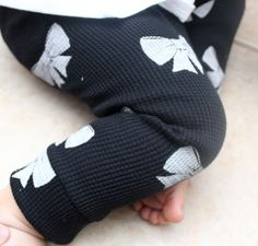 Baby Girl Black and White Bow Leggings by SugarPlumLaneBaby