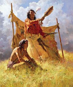 The vision quest can take place at any time, but it is usually undertaken first by a young Native American male as a rite of puberty. The vision quest is a model for any inner journey. American Indian Art, Native American Indians, Plains Indians, American Gods, Native Indian, Native Art, Indian Tribes, Indiana, Howard Terpning