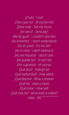 Useful Spanish Phrases, English Phrases, Learn English Words, How To Speak Spanish, Spanish Language Learning, English Vocabulary Words, Learn A New Language, Spanish Words For Beginners, Spanish Basics
