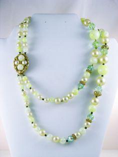 Vintage Glass Crystal and Green Crackle by delightfullyvintage