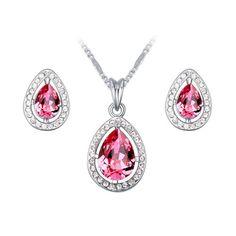Rózsaszín cseppek kristály ékszerszett