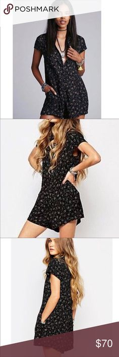 Free People 'Debbie dot' front button romper BNWT! Free People Dresses