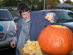 He didn't like the feeling of the pumpkin guts but he always did it anyway