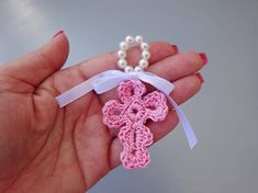 Christening favors in crochet first communion baby Shower