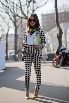 "Sometimes I don't like wearing a large print hed to toe, but this grid-board-checked suit from Topshop works beautifully. ""30 Street-Style Snaps From Paris Fashion Week"", by Connie Wang, Photographed by Christian Vierig"