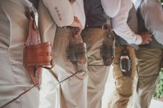 """leather beer holsters make really awesome groomsmen gifts! they're engraved to say, """"BEST DUDES"""" 