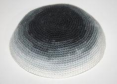 kippah white gray black by crochetkippah on Etsy